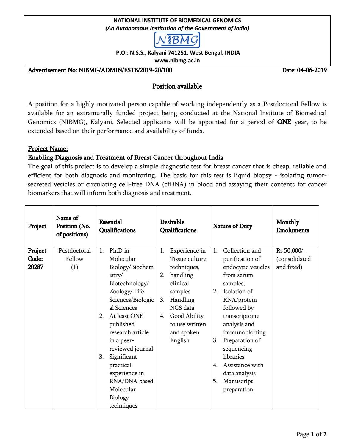 NIBMG PhD Postdoctoral Fellow Job With Rs  50,000 Salary pm