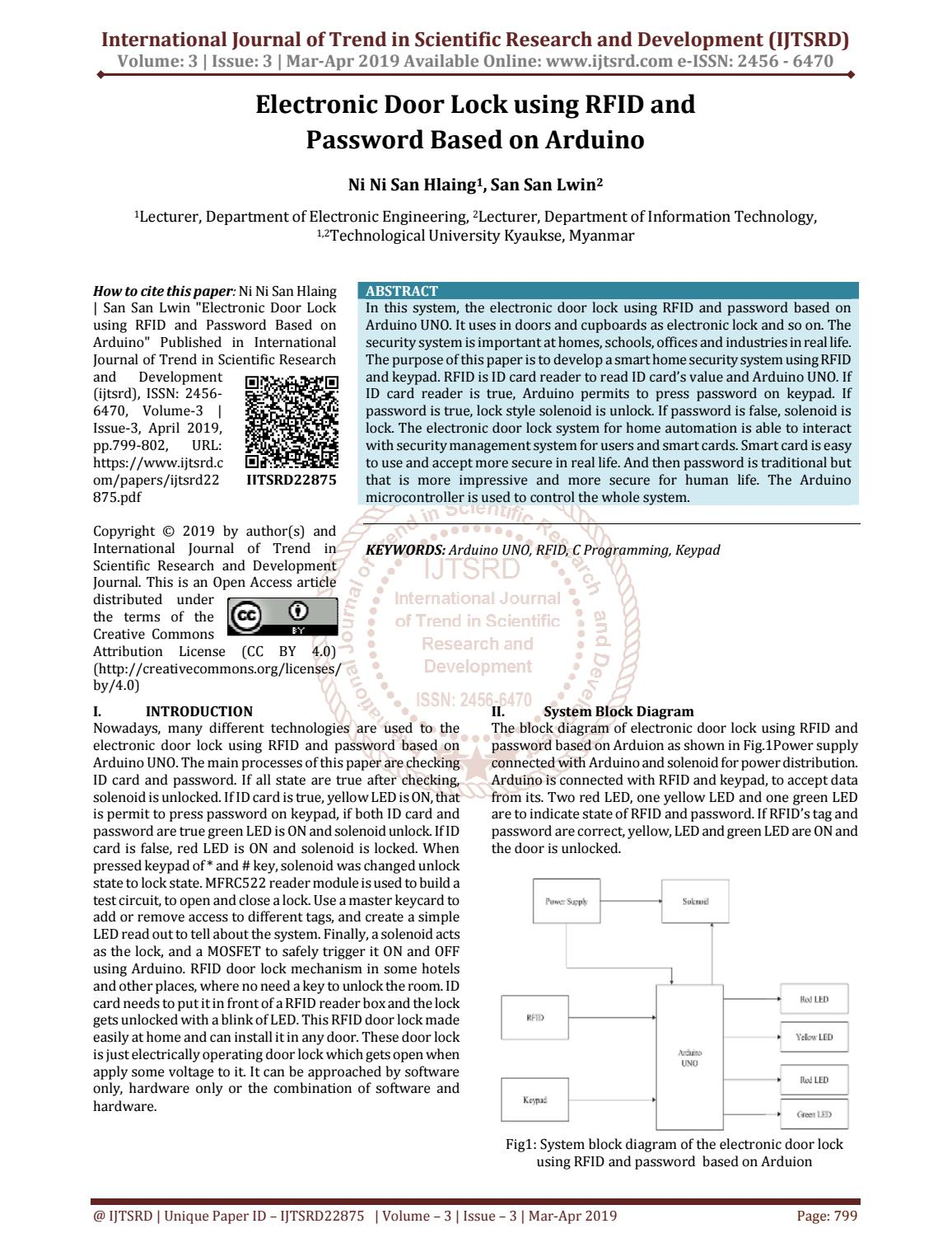 Electronic Door Lock Using Rfid And Password Based On Arduino By International Journal Of Trend In Scientific Research And Development Issn 2456 6470 Issuu