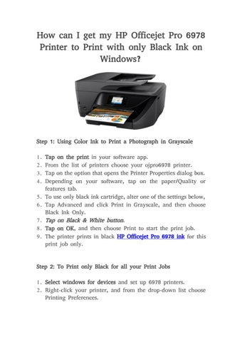 How can I get my HP Officejet Pro 6978 Printer to Print with