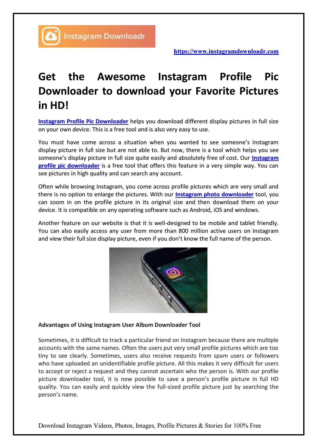 Get the Awesome Instagram Profile Pic Downloader to download