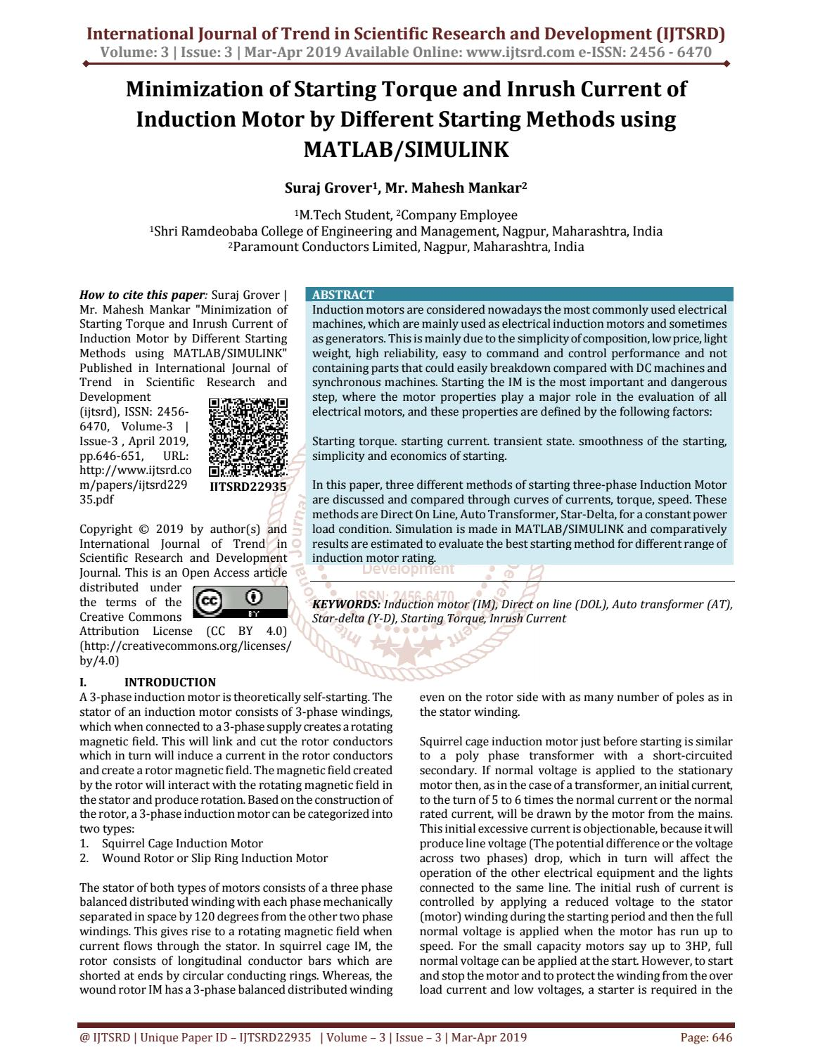 Minimization of Starting Torque and Inrush Current of