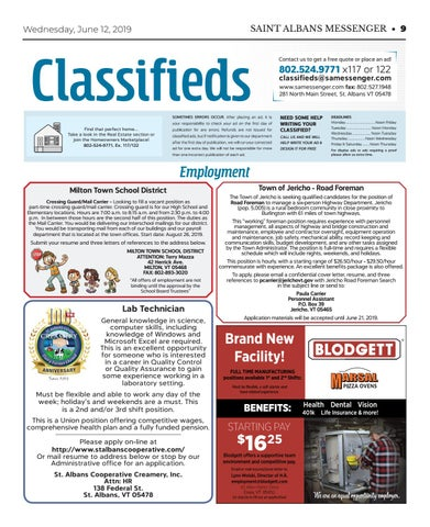 6/12/19 Classifieds by St. Albans Messenger - issuu
