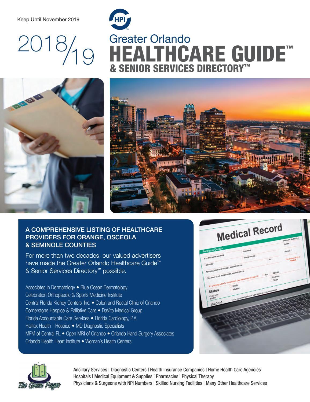 2018 - 2019 Greater Orlando Healthcare Guide & Senior