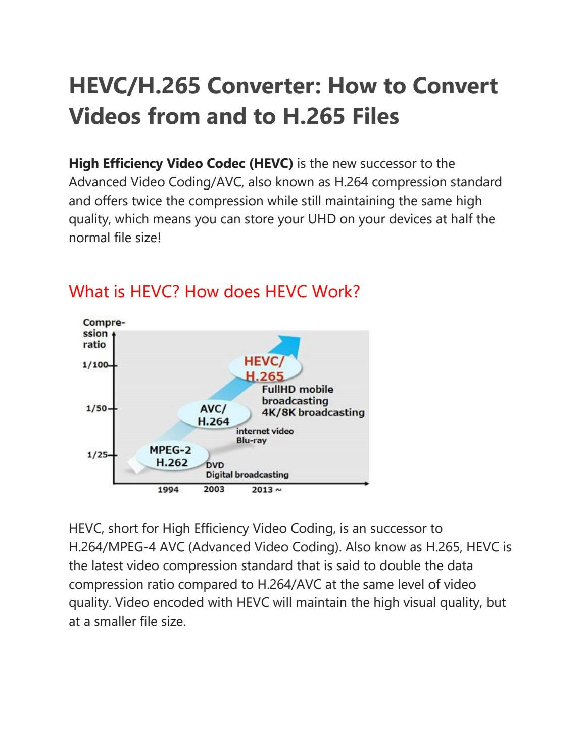 HEVC/H 265 Converter: How to Convert Videos from and to H