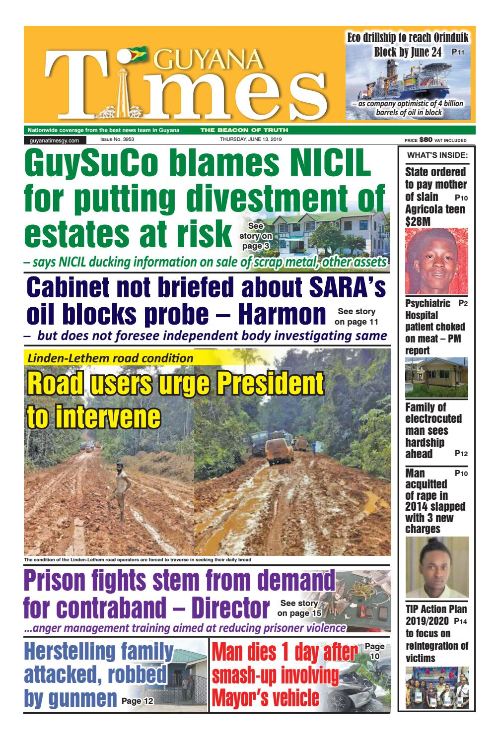 Guyana Times Thursday June 13, 2019 by Gytimes - issuu