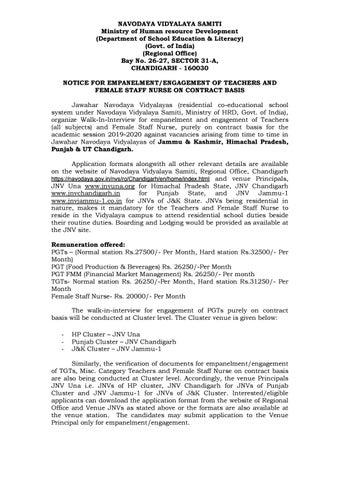 Govt, MHRD Navodaya Vidyalaya PGT & TGT Biotech / Biology Jobs 2019