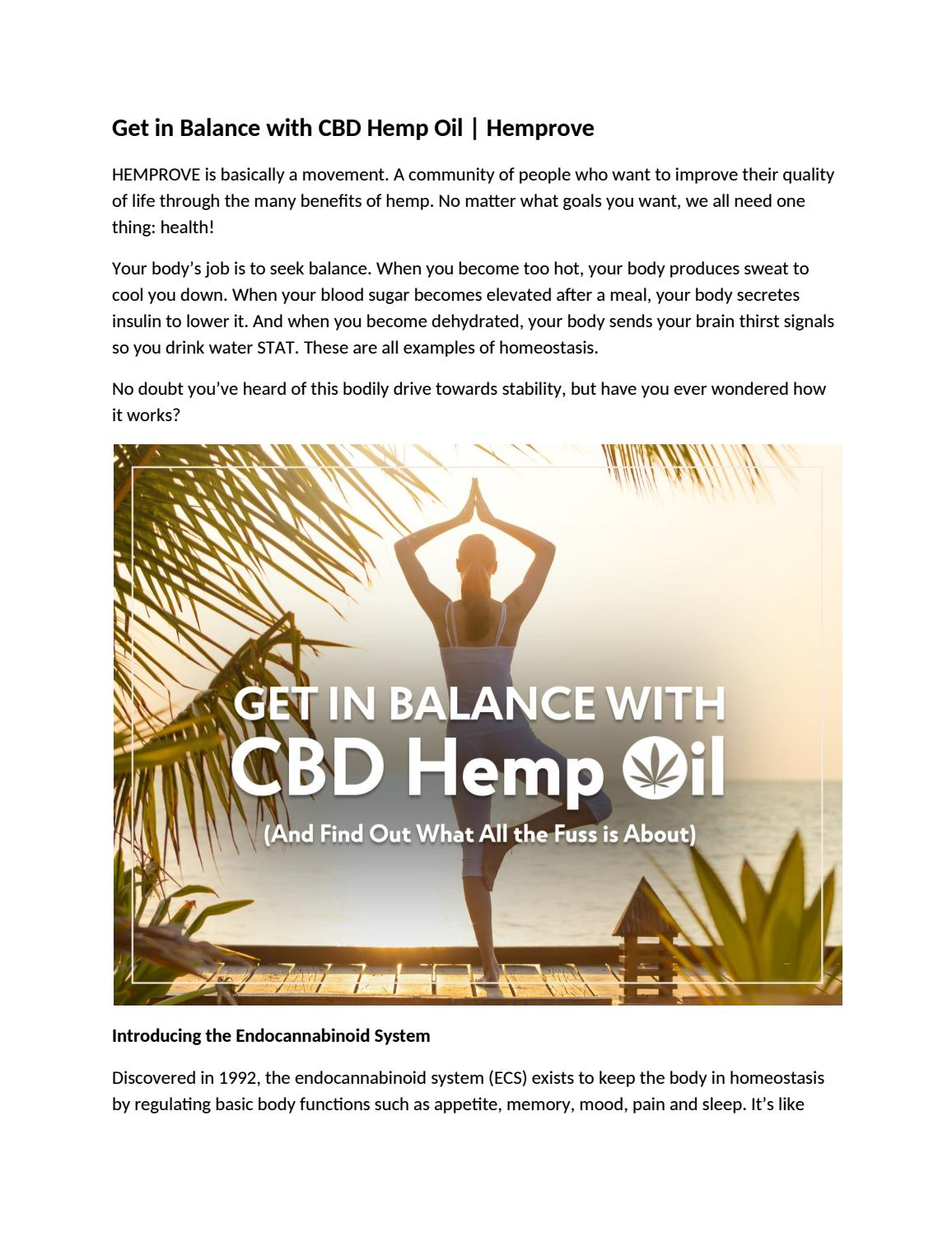 Hemprove - Get in Balance with CBD Hemp Oil by hemprove cbd - issuu