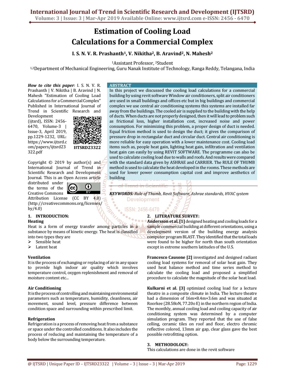 Estimation of Cooling Load Calculations for a Commercial