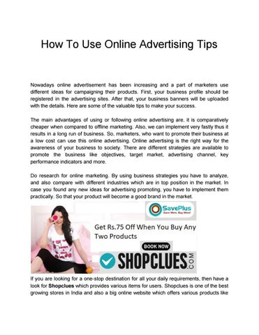 How To Use Online Advertising Tips by saveplus679 - issuu