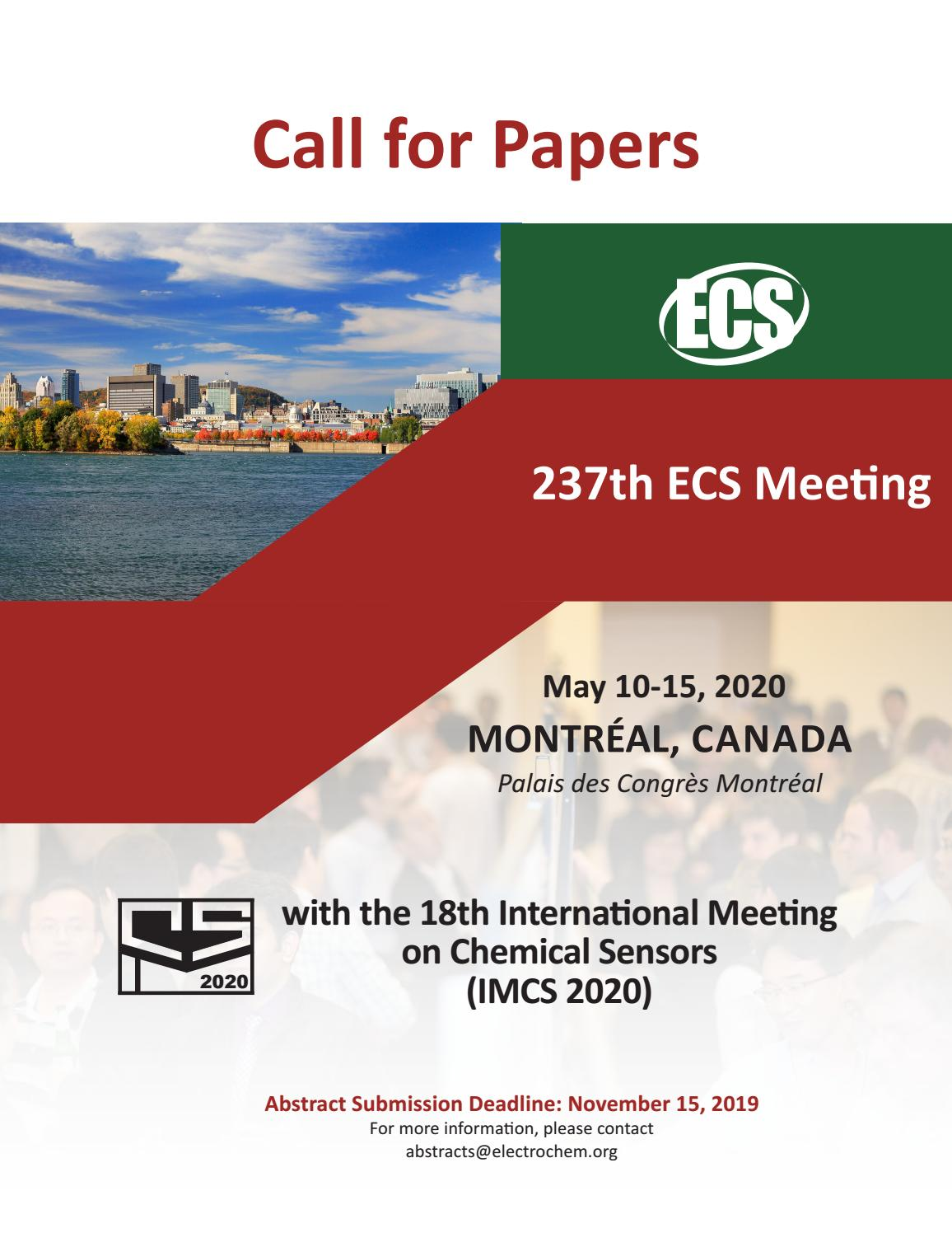 CALL FOR PAPERS: 237th ECS Meeting with the 18th
