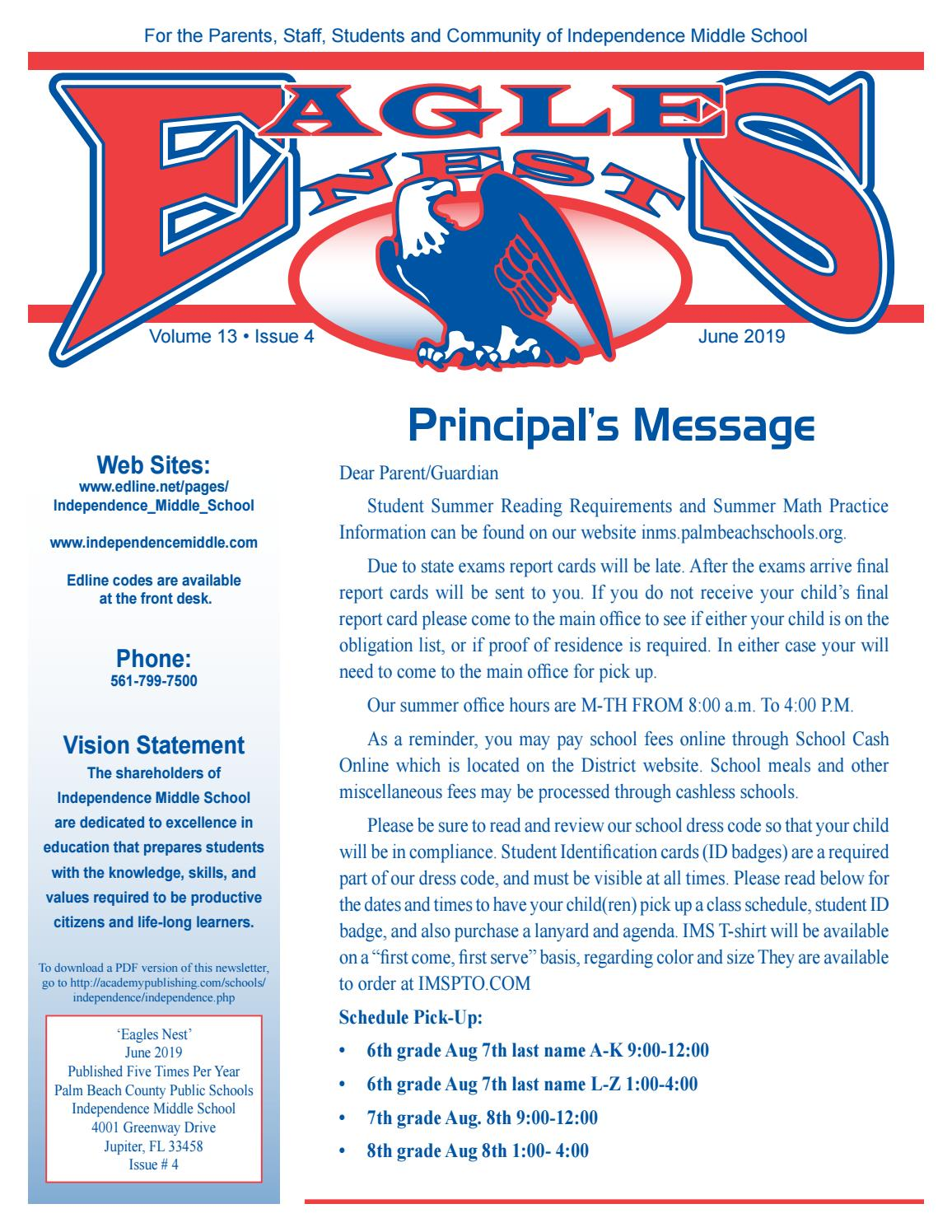 Independence Middle School Newsletter by Academy Publishing
