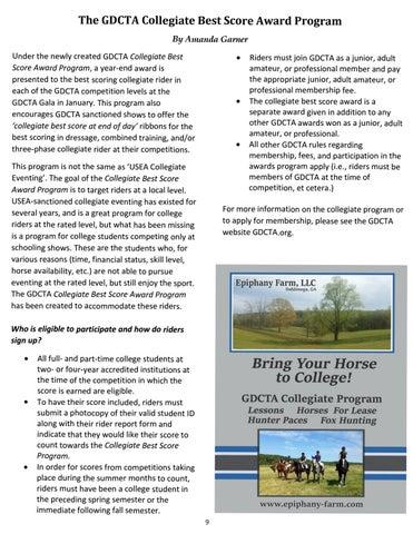 Page 9 of The GDCTA Collegiate Best Score Award Program