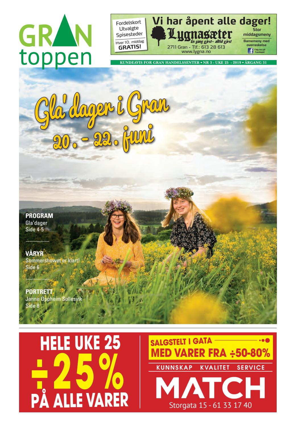 607fe037 Grantoppen nr 3, Gladager i juni 2019 by Gran Handelssenter - issuu