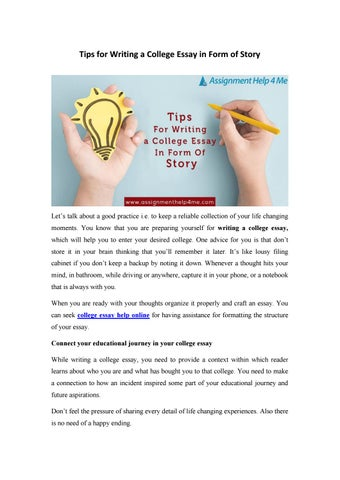 tips for writing a college essay in form of story by thomesjames   issuu page