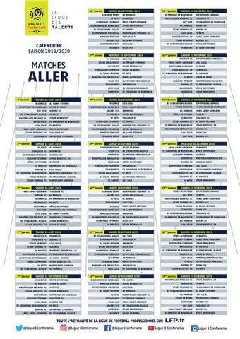 Foot Ligue 1 Calendrier 2020.Le Calendrier De La Saison De Football De Ligue 1 2019 2020
