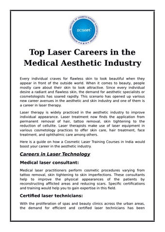 Top Laser Careers in the Medical Aesthetic Industry by International