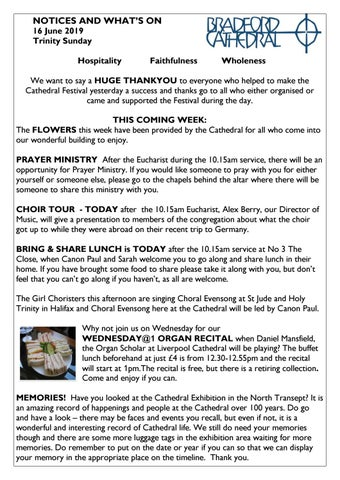 Notices - 16th June 2019 by Bradford Cathedral - issuu