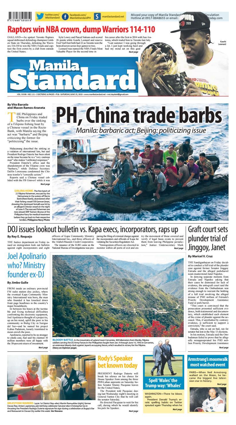3e72576899cb Manila Standard - 2019 June 15 - Saturday by Manila Standard - issuu