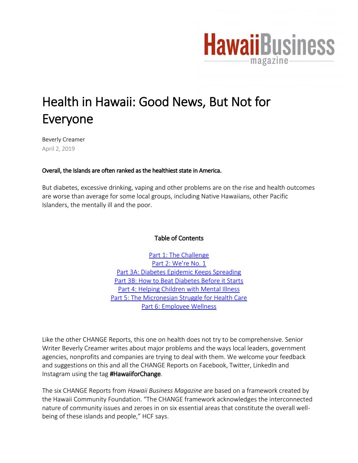 Good News About Mental Health In Our >> Health In Hawaii Good News But Not For Everyone By Hawaii Community
