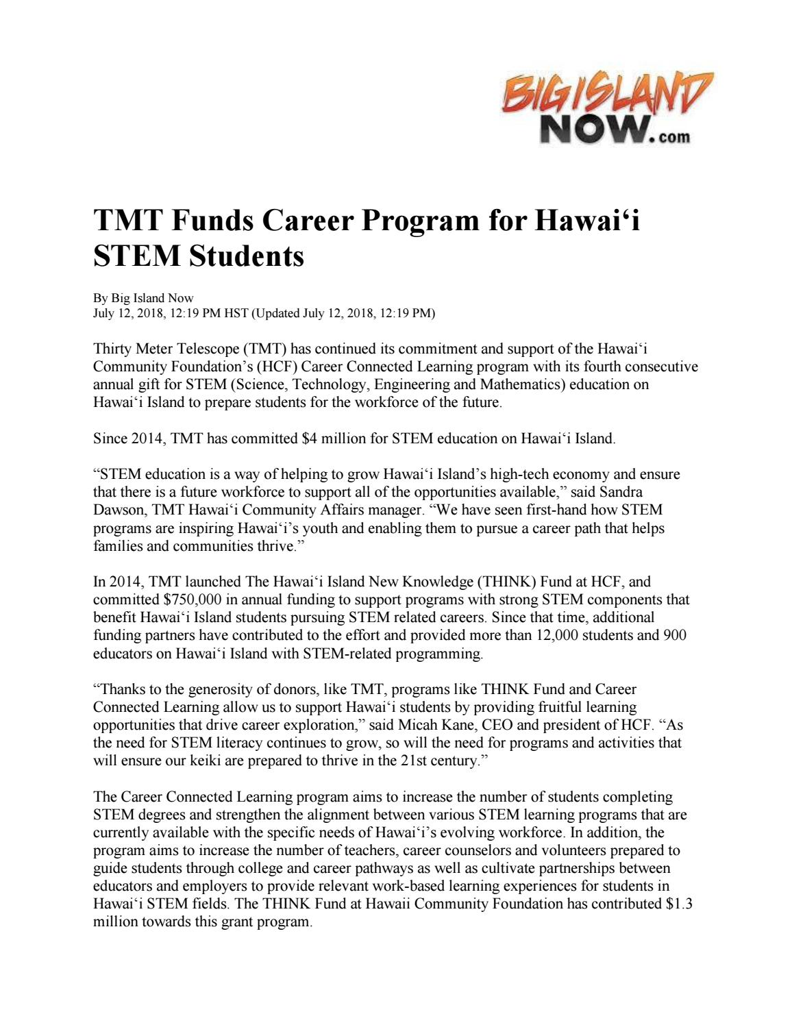 TMT funds career program for hawaii stem students by Hawaii