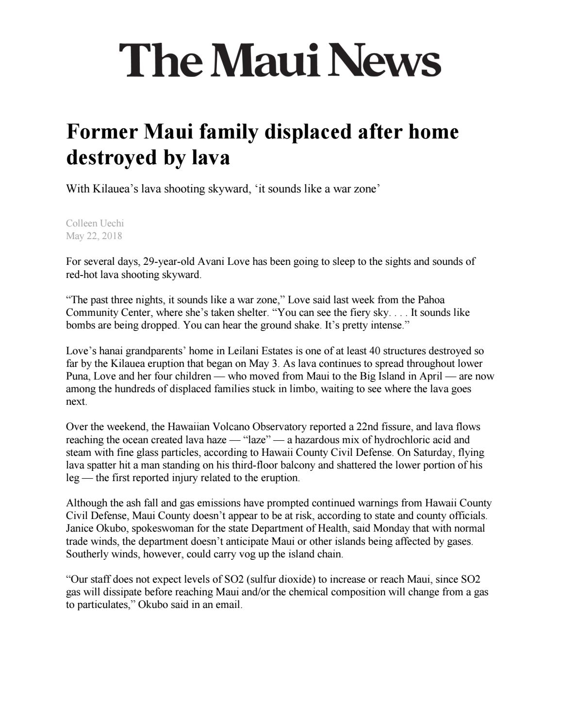 Former Maui family displaced after home destroyed by lava by