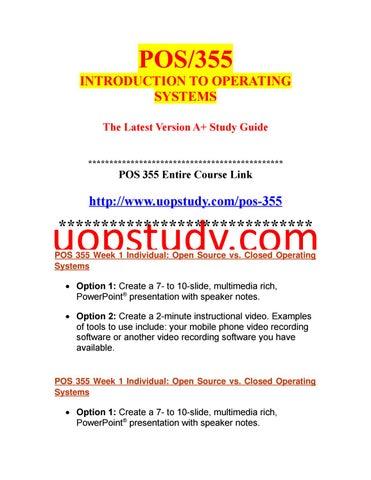 POS 355 Week 1 Individual Open Source vs  Closed Operating