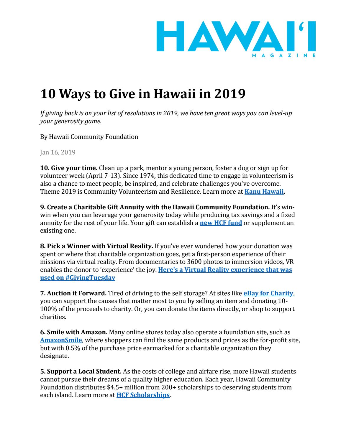 10 Ways to Give in Hawaii in 2019 by Hawaii Community Foundation - issuu