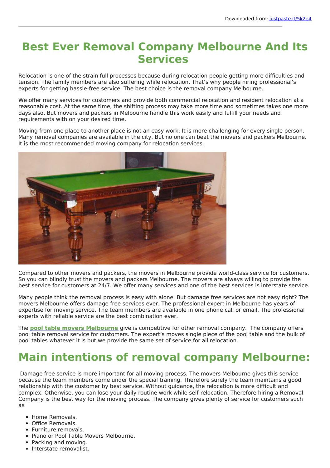 Pool Table Movers Melbourne By Singh Movers Issuu