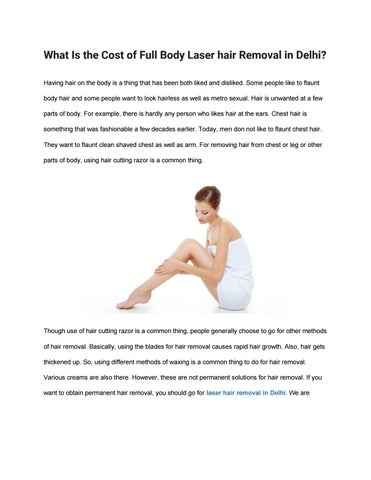 What Is The Cost Of Full Body Laser Hair Removal In Delhi By