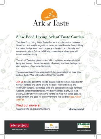 Franchi Seeds Climate Emergency Slow Food 'Ark' at RHS