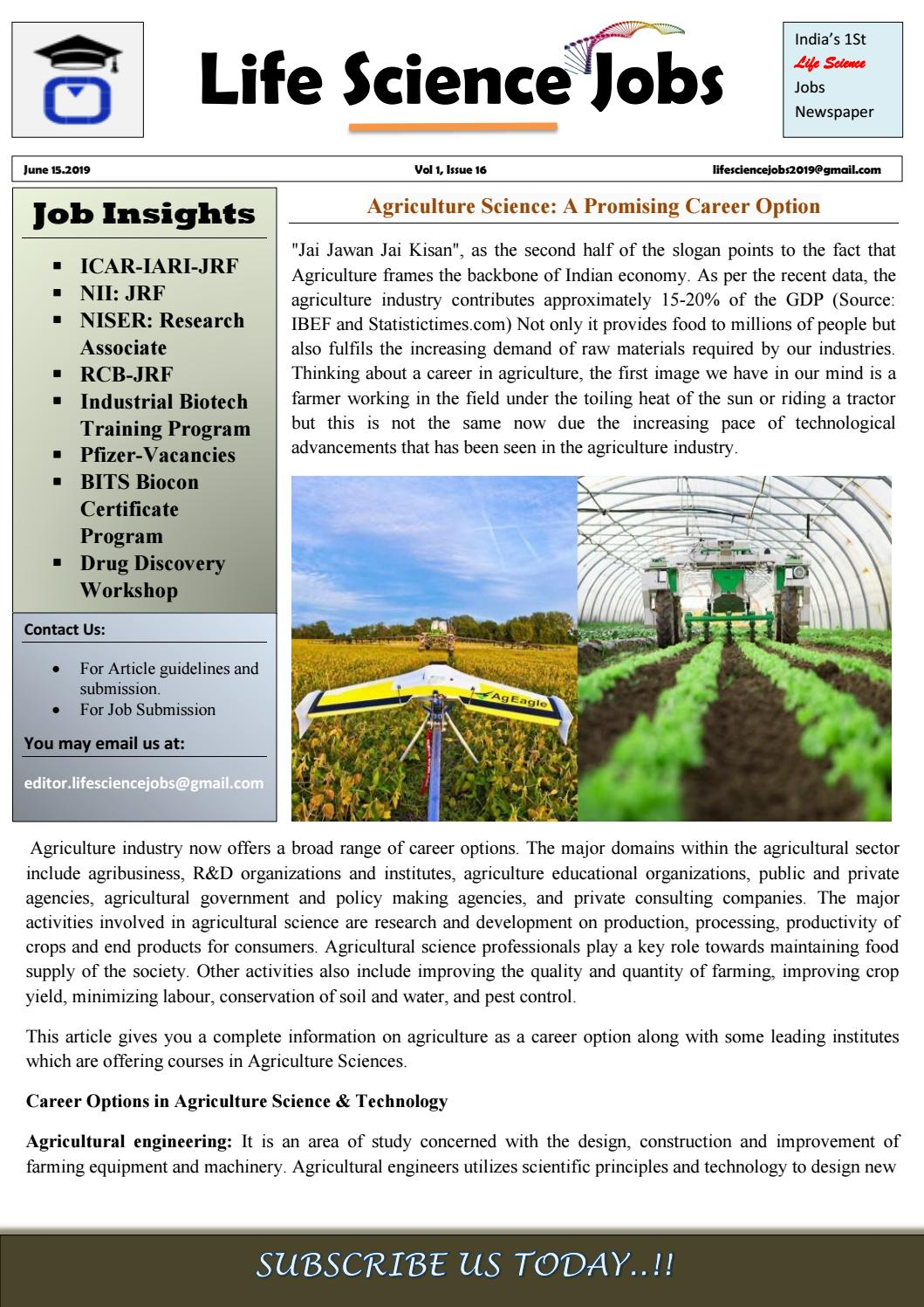 Life Science Jobs Volume 1, Issue 16, June 15 2019 by
