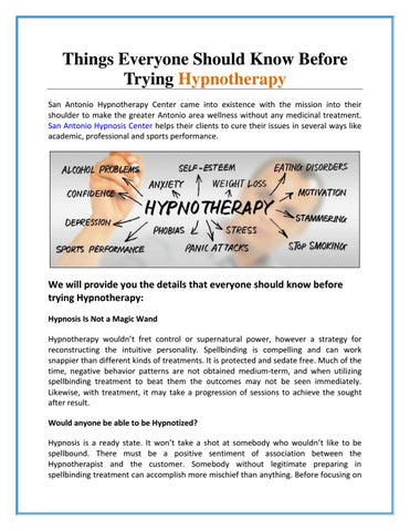 Things Everyone Should Know Before Trying Hypnotherapy by San
