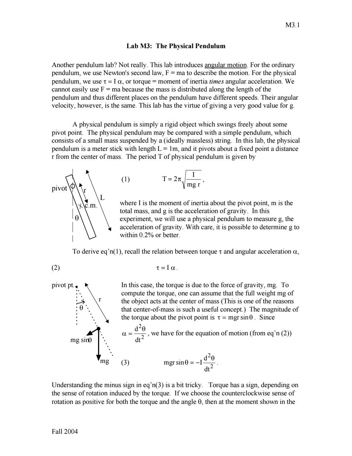 1st Year Physics Lab Manual Experiment M3 (University of Colorado