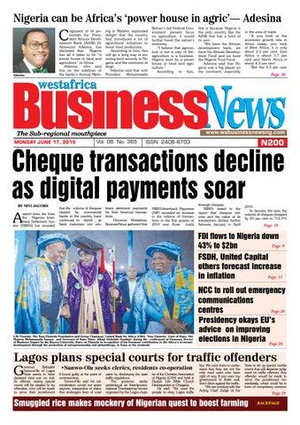 Westafrica BusinessNews Monday, June 17, 2019 by
