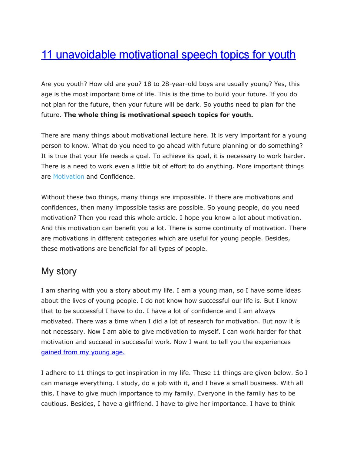 11 unavoidable motivational speech topics for youth by