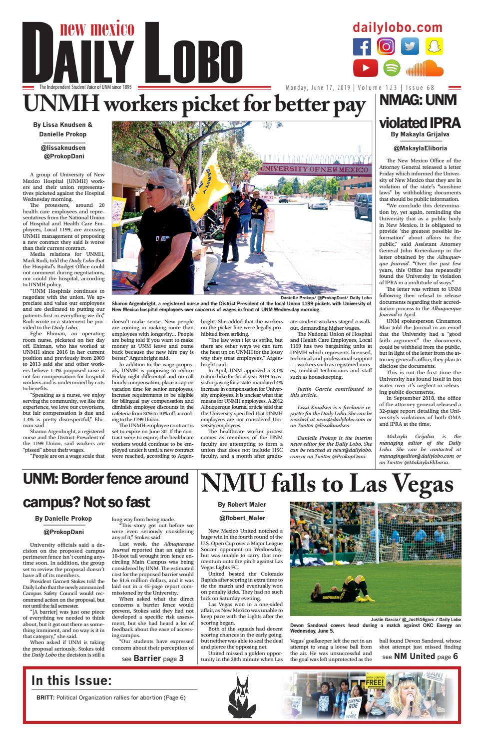 Daily Lobo 06/17/2019 by UNM Student Publications - issuu