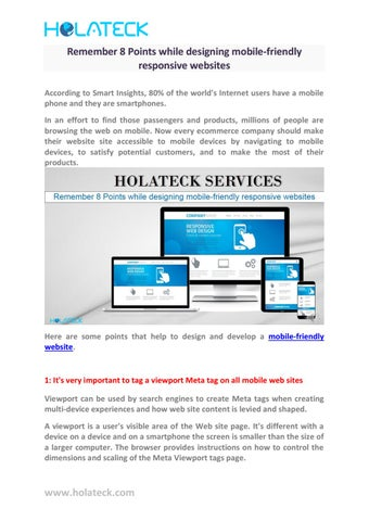 Remember 8 Points While Designing Mobile Friendly Responsive Websites By Holateck Issuu