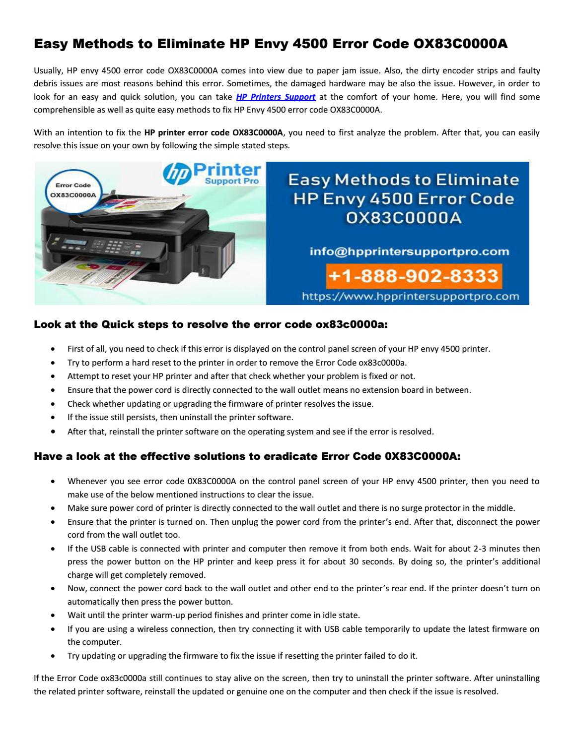 Easy Methods to Eliminate HP Envy 4500 Error Code OX83C0000A by