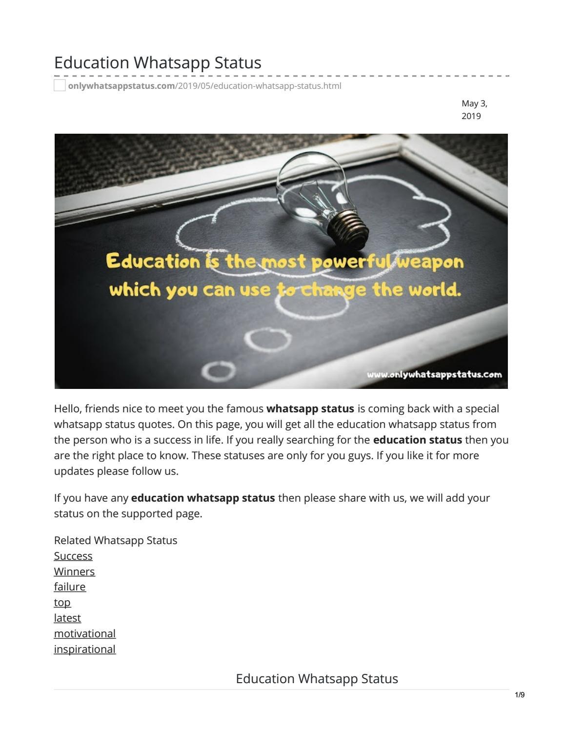 Education Whatsapp Status By Whatsappstatus Issuu