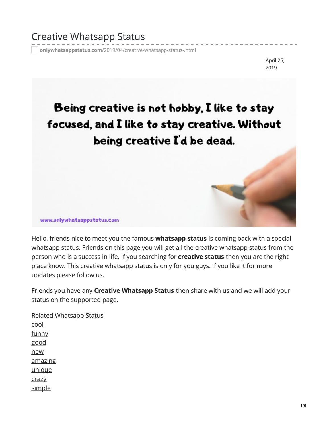 Creative Whatsapp Status By Whatsappstatus Issuu
