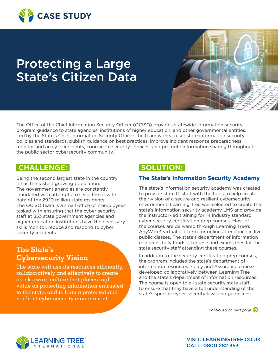Protecting a Large State's Citizen Data by LearningTree