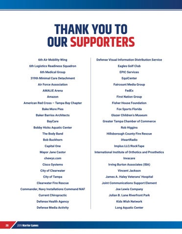 Page 22 of THANK YOU TO OUR SUPPORTERS