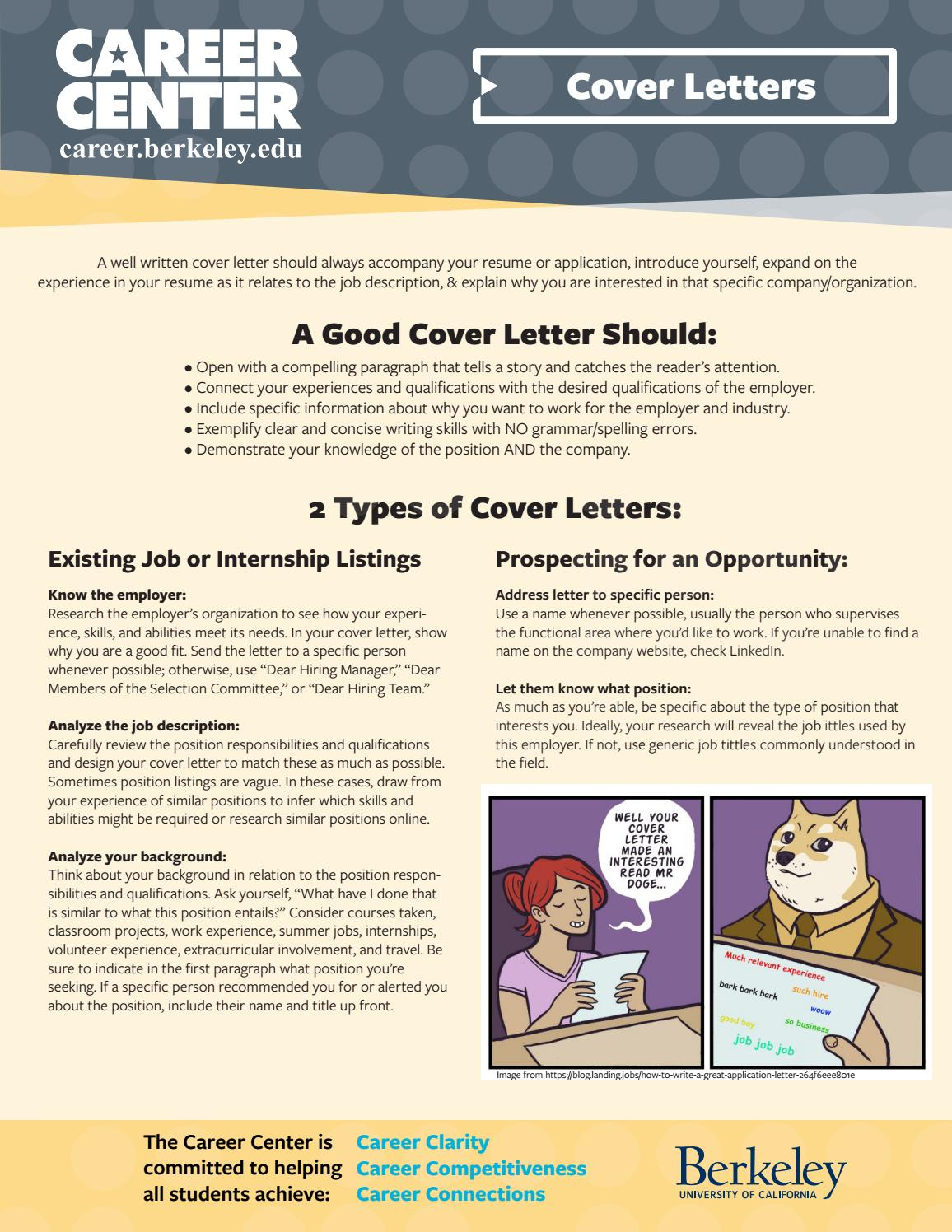 Bear Facts Writing Cover Letters For Jobs Internships By