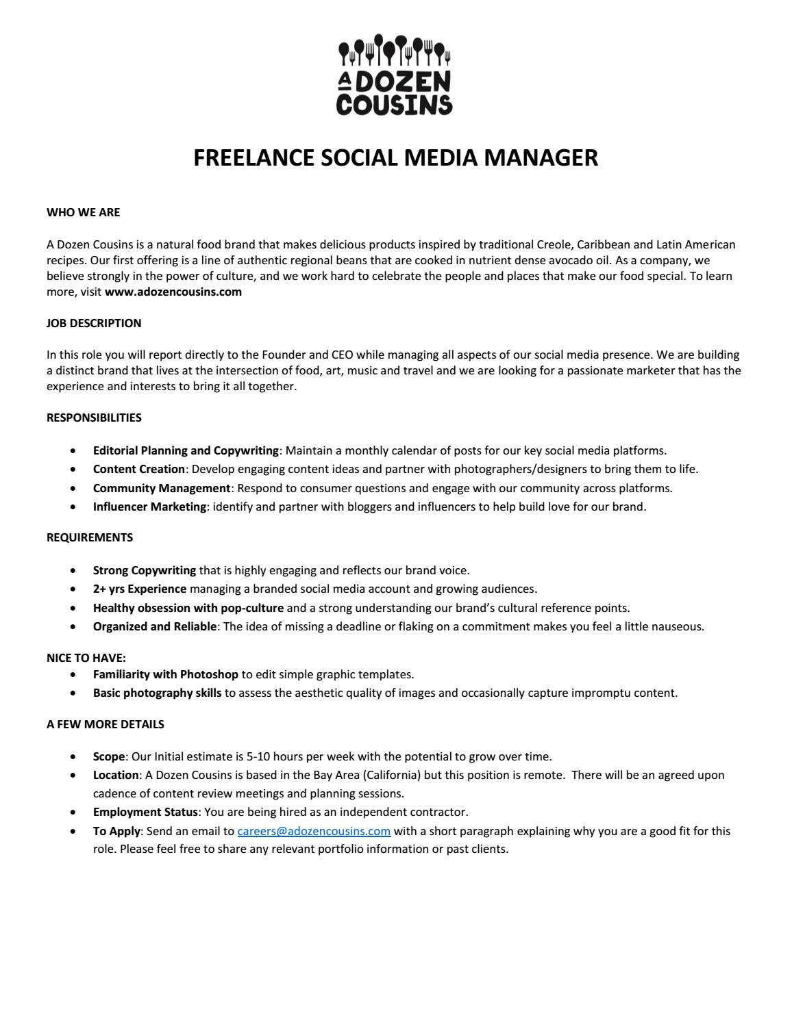 A Dozen Cousins Freelance Social Media Manager (Remote) by