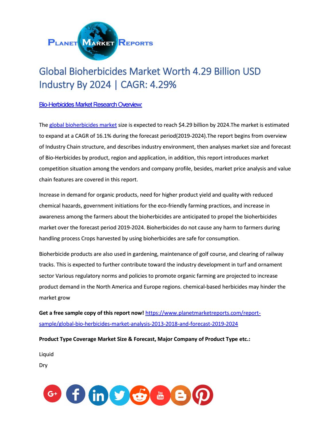 Global Bioherbicides Market Size, Industry Growth Analysis