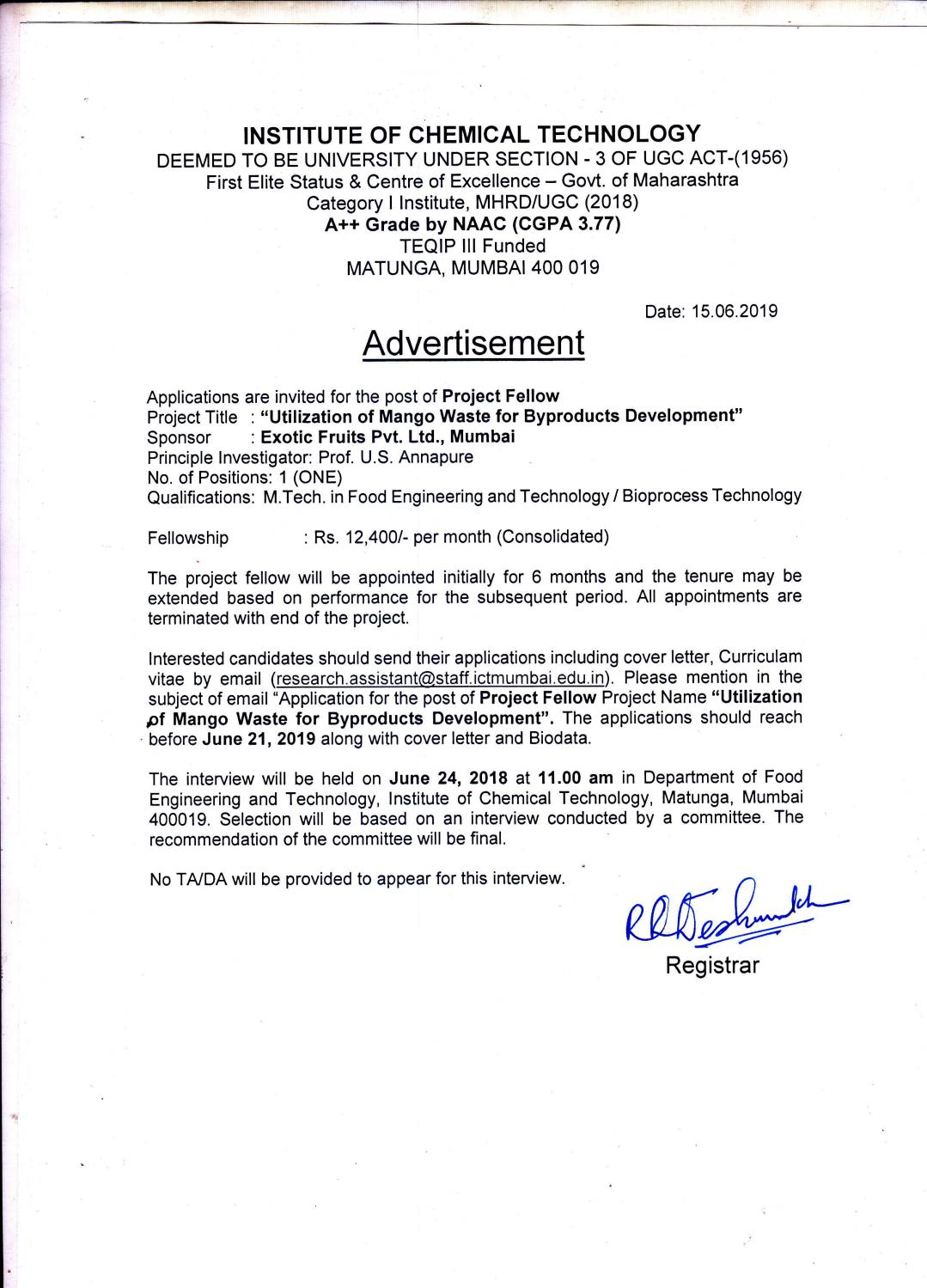 ICT Mumbai, Food Technology Project Fellow Vacancy Available ...