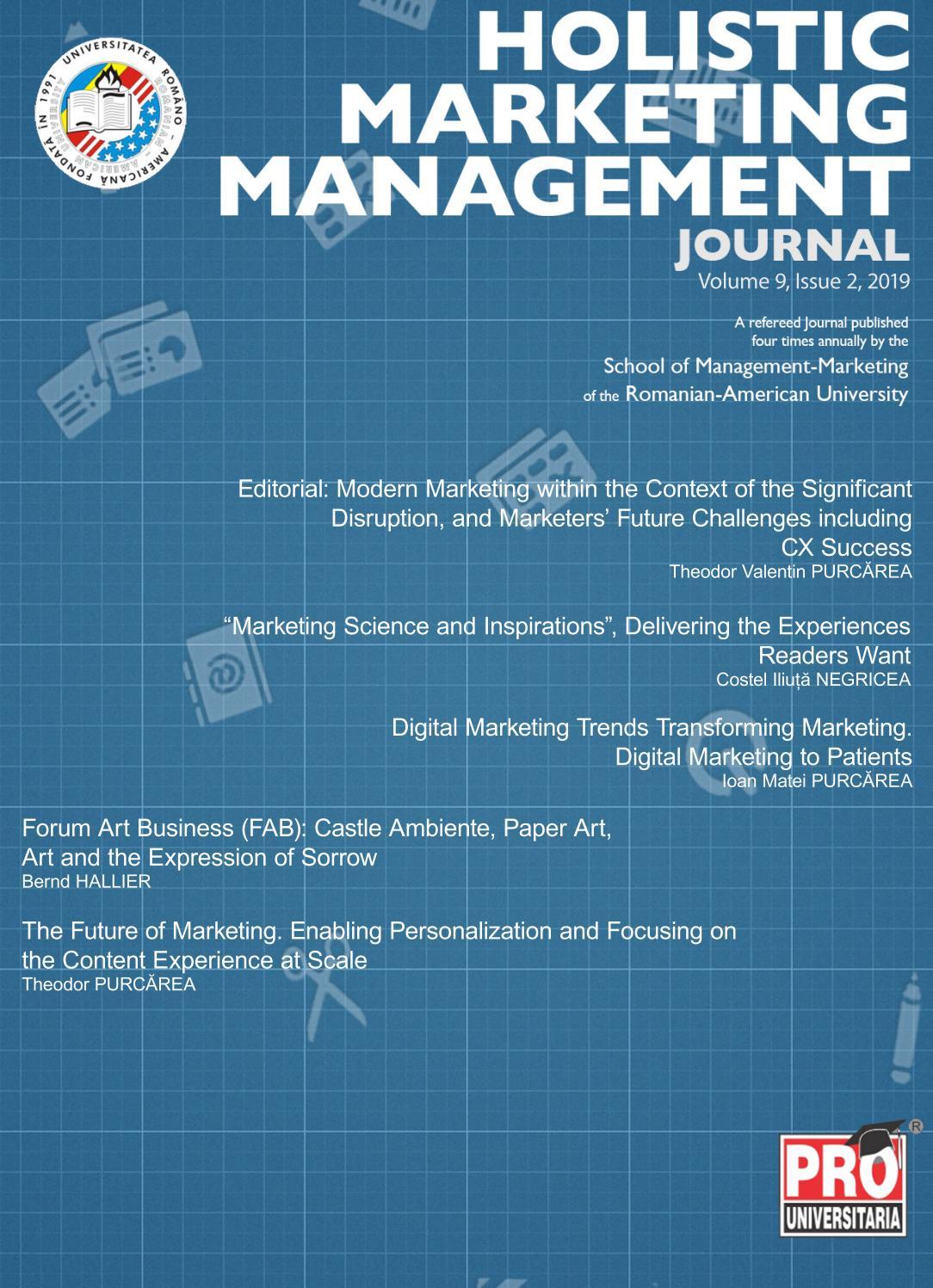 Holistic Marketing Management, Volume 9, Issue 2, Year 2019