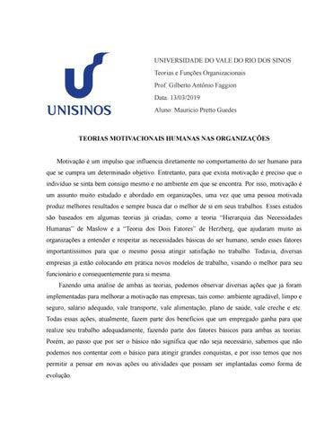 Teorias Motivacionais Humanas Nas Organizações By Maurício