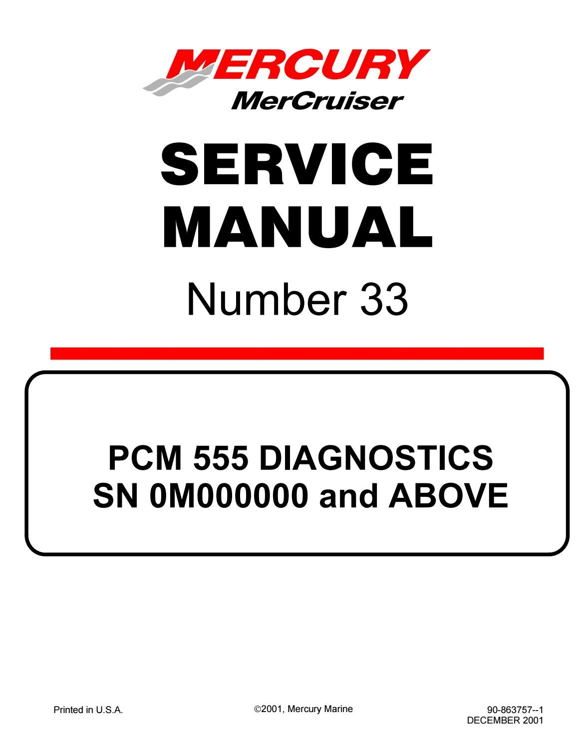 Mercury Mercruiser 8 1s Ho Diagnostics Service Repair Manual Sn0m000000 And Above By 1635716