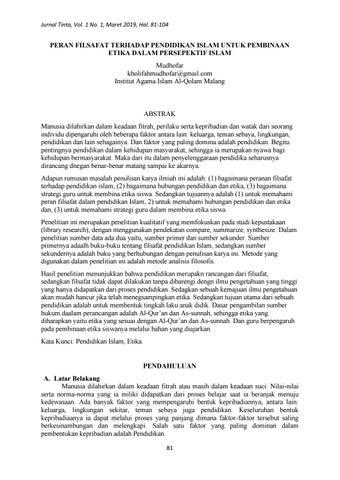 Peran Filsafat Terhadap Pendidikan Islam Untuk Pembinaan Etika Dalam Persepektif Islam By Jurnal Tinta Issuu